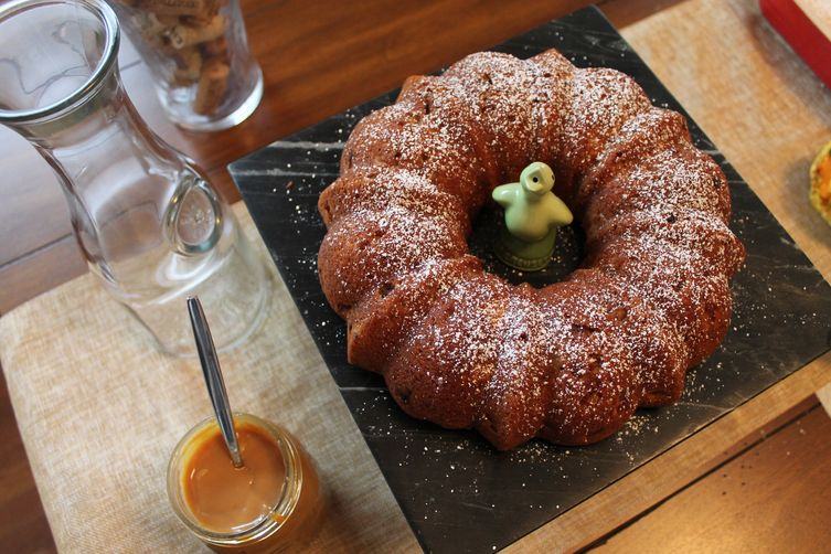 Ginger Apple Cake with Dulce de Leche Drizzle