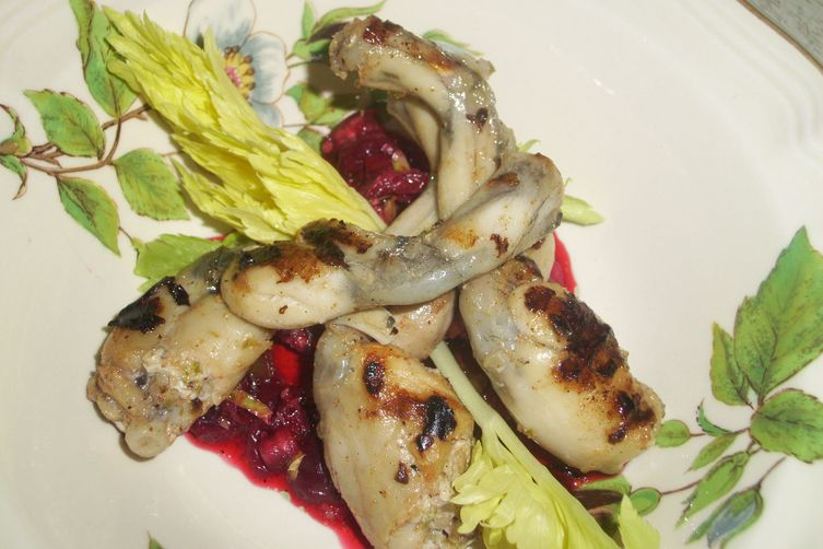 Frog legs with sour cherry salsa
