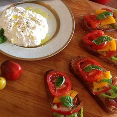 Heirloom Tomato Bruschetta with Homemade Ricotta