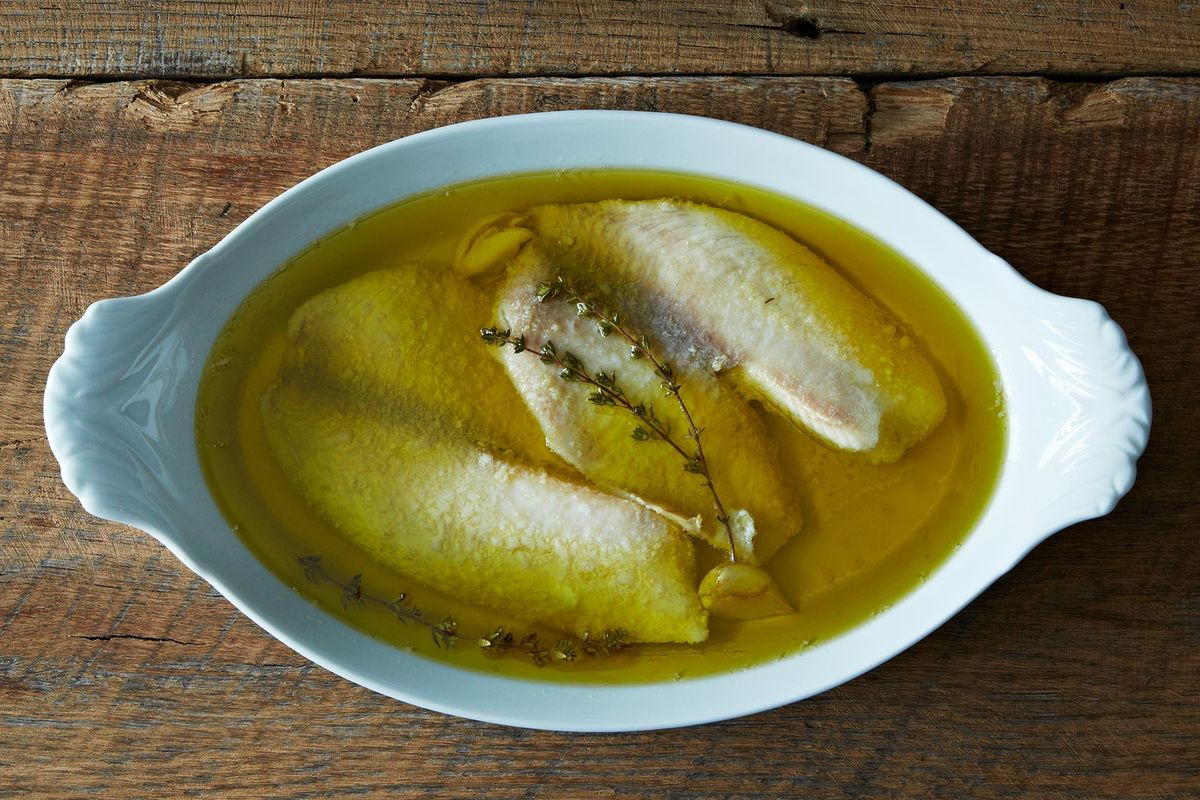 Cooking for clara tilapia poached in olive oil for Frying fish in olive oil