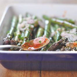 Slightly Spicy Asparagus with Warm Anchovy Shallot Citrus Vinaigrette