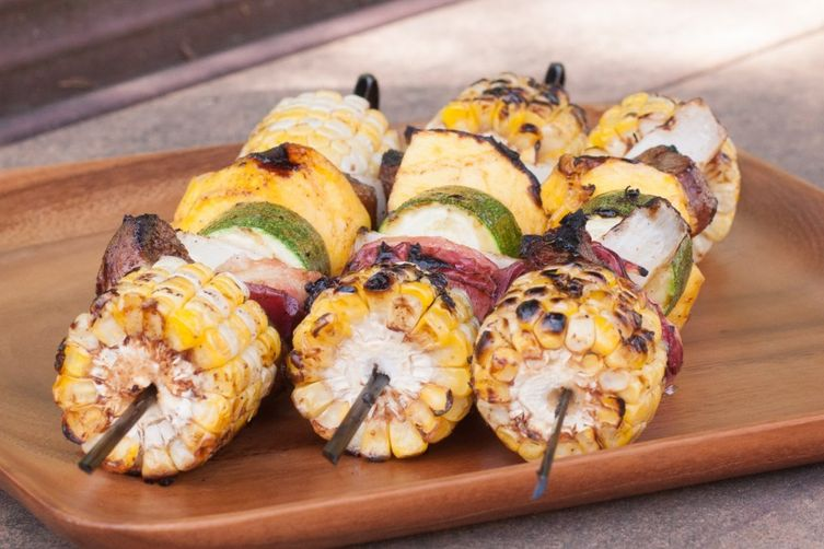 Jerk Lamb, Corn, and Fruit Kebabs