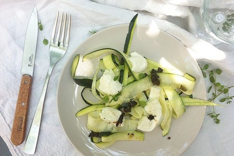Marinated Zucchini, Kalamata Olive, and Mozzarella Salad