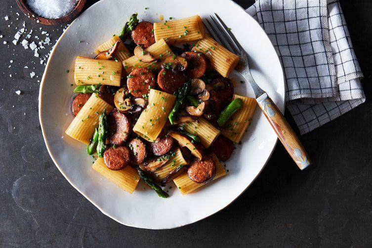Rigatoni with Chorizo, Wild Mushrooms and Asparagus