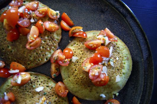 Savoury Pea Pancakes with Fresh Salsa