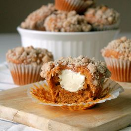 Pumpkin and cream cheese muffins with walnut streusel