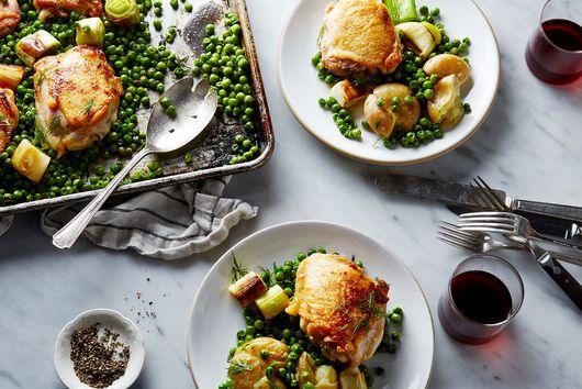 Nigella Lawson's Chicken & Pea Traybake