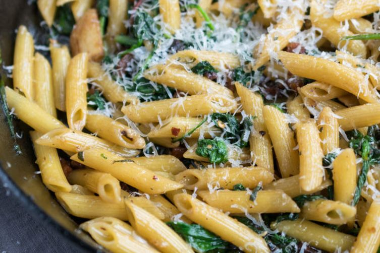 Pasta with Guanciale and Greens