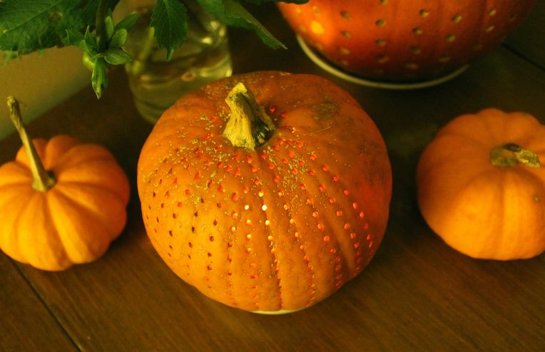 Polka-Dot Pumpkins with Seeds for Toasting