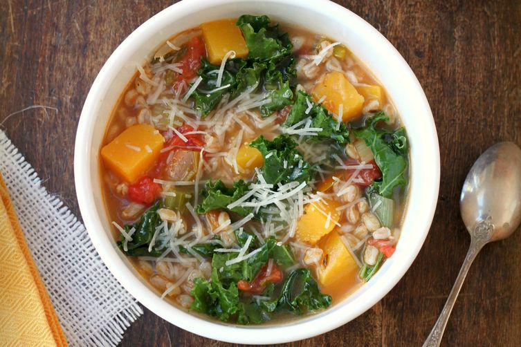Farro, Kale and Butternut Squash Soup
