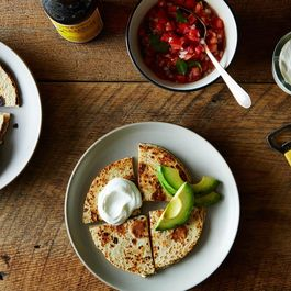 Feta Quesadillas with Fresh Pico de Gallo and Avocado
