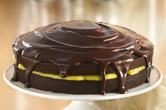 Chocolate Cake With Orange Filling And Chocolate Glaze
