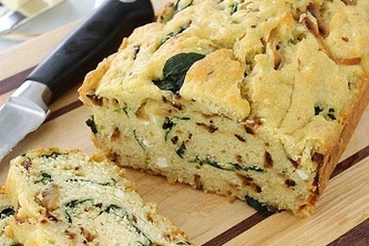 Carmelized onion & spinach olive oil quick bread