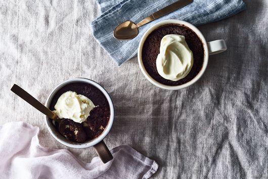 Chocolate Olive Oil Mug Cake With Sumac & White Chocolate Chunks