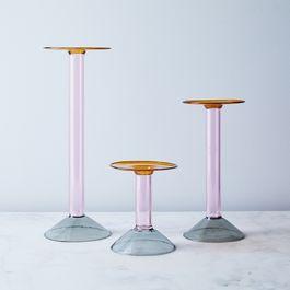 Multi-Colored Italian Glass Candlesticks