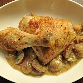Roast Chicken with Mustard and Grapes
