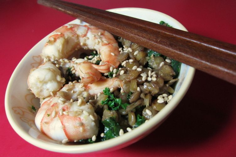 Wasabi Miso Lentils with Shrimp and Greens