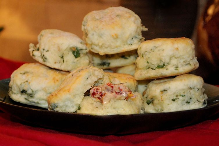 Parmesan-Basil Tea Biscuits with Roasted Garlic and Sun-Dried Tomato Butter