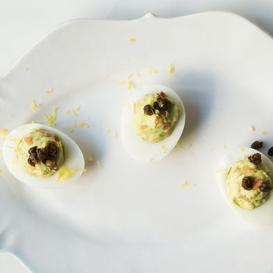 Avocado Deviled Eggs with Smoked Salmon and Fried Capers