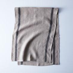 Oatmeal Linen Striped Runner