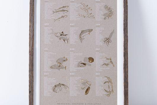 Framed Seasonal Seafood Print
