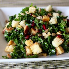 Kale bread salad with lemon poppy seed vinaigrette