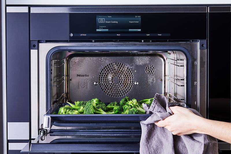 Broccoli steamed to perfection using a steam oven.