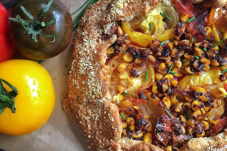 Heirloom Tomato, Fresh Corn & Miso Butter Galette