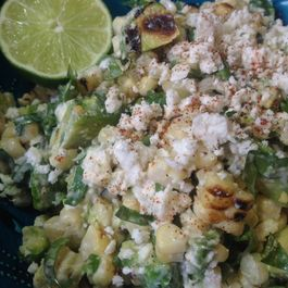 Elotes inspired grilled corn salad
