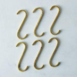 Brass S-Hooks (Set of 6)