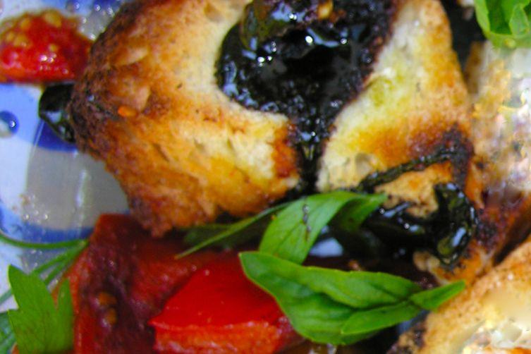 Roasted red pepper and black cherry tomato bruschetta, Pollock style