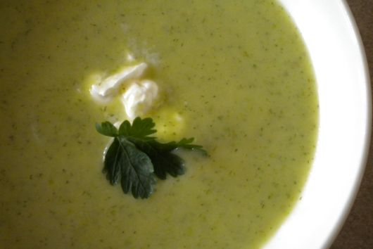 Roasted Asparagus Soup with Lovage & Dill