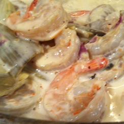 Garlic tarragon cream sauce in artichoke & shrimp pasta