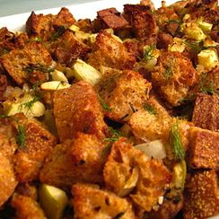 Lightened Up Holiday Stuffing with Fennel, Apple & Turkey Sausage