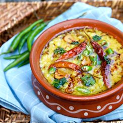 Moong Daal with Curry Leaf, Red Chile, and Tempered Garlic