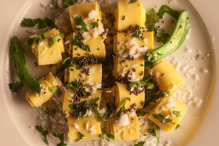 Khandvi, Gujarati Street Food Made Easy and Gluten Free in the Microwave