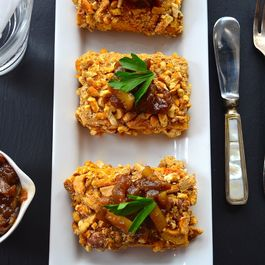 Cashew and Pretzel Crusted Tofu with sweet onion relish- Vegan Thanksgiving