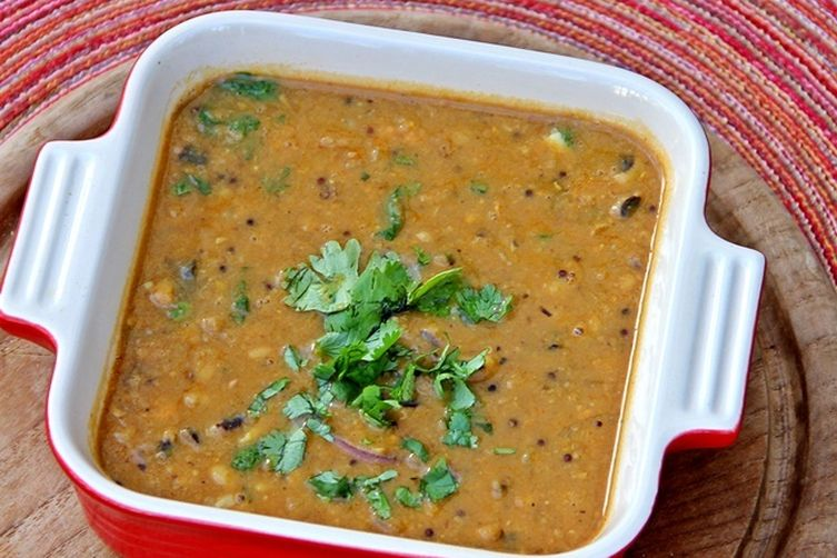 Sweet and Sour Red Lentils with Winter Squash and Black-Eyed Peas