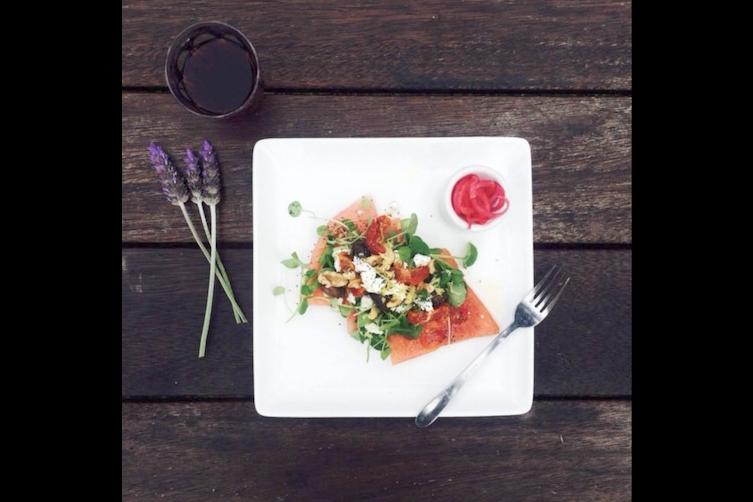 "3 ""watermelon twist"" salad with sun dried tomatoes, olive, feta and walnut."