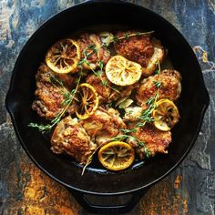 Crispy Chicken Thighs + Meyer Lemon + Herbs