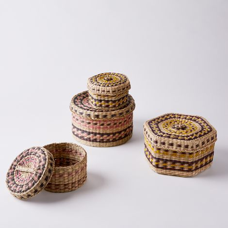 Handwoven Seagrass Storage Baskets with Lids (Set of 2)