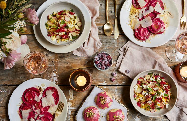 This Dreamy Spring Spread Stars Cheesy Beet Ravioli & Raspberry-Glazed Cookies