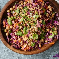 Chickpea Vegetable Bowl with Peanut Dressing