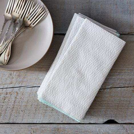 Seersucker Cloth Napkins, Grey (Set of 4)