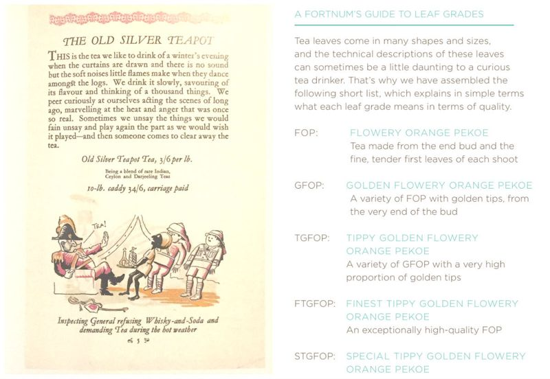 Left: Picture from Fortnum & Mason's Tea Commentary, 5th issue (1924), where a British officer whacks an Indian servant because he wants tea. Right: a screenshot from Fortnum & Mason's current menu.