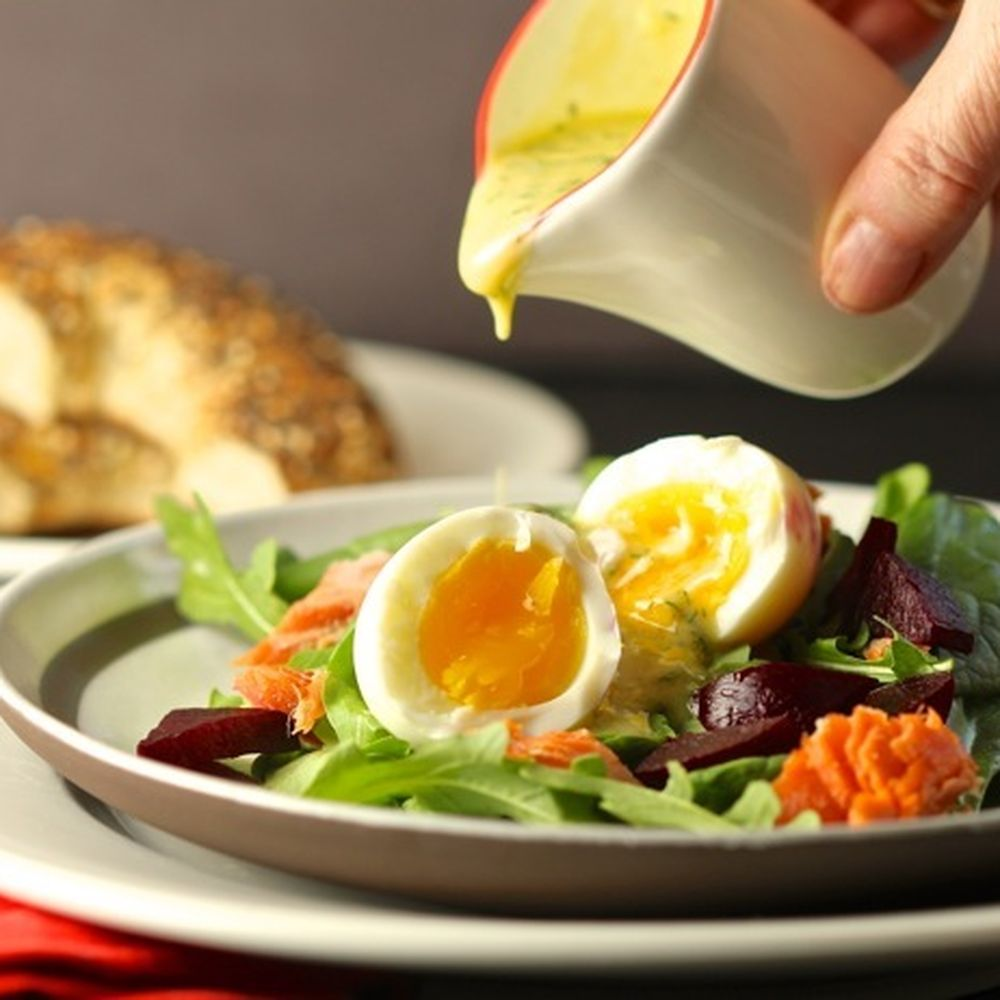 Warm Salad Of Soft-Cooked Eggs And Smoked Salmon Recipe On