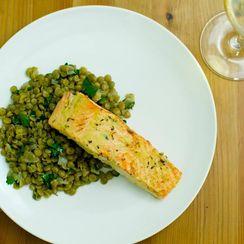 Dijon Salmon with French Lentils