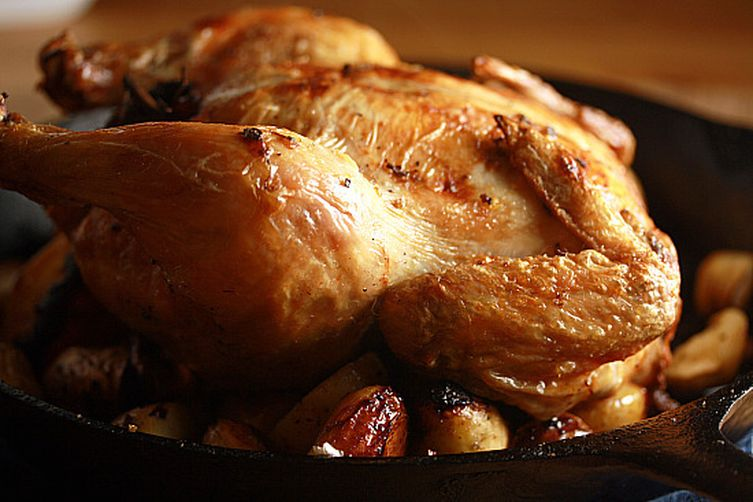 Perfectly Simple Roast Chicken and Vegetables with Lemon Rosemary Sauce