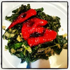 Sauteed Collards with Roasted Poblanos