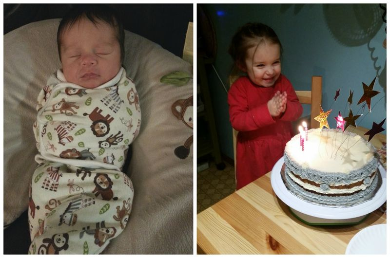 Beyondcelery's daughter, Hazel, in her Holiday Swap swaddler, and more recently, gleefully admiring her third birthday cake.